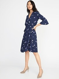 Waist-Defined Floral Shirt Dress for Women