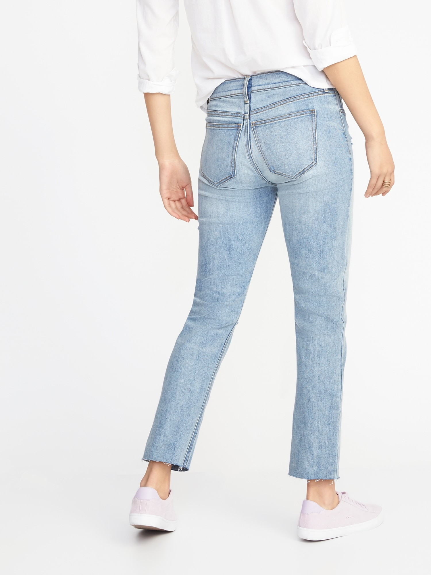 e65b9eb155225 Mid-Rise Distressed Straight Ankle Jeans for Women