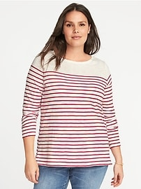 T-shirt à rayures de marin et col bateau, taille Plus