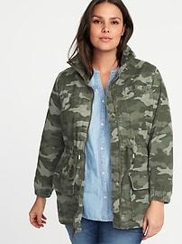 Plus-Size Twill Field Jacket