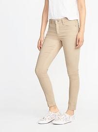Mid-Rise Beige Super Skinny Rockstar Jeans for Women