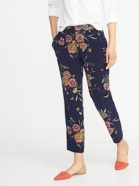 Mid-Rise Fitted Floral-Print Harper Pants for Women
