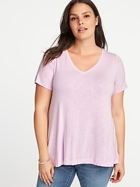 T-shirt évasé à col enV, taille Plus