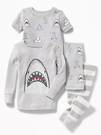 Shark-Graphic 4-Piece Sleep Set for Toddler & Baby