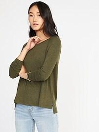 Haut à manches raglan en tricot duveteux pour femme