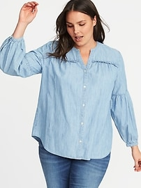 Plus-Size Chambray Shirt
