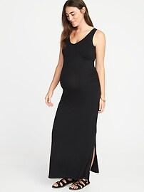 Maternity Sleeveless V-Neck Maxi Dress