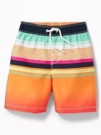 Multi-Color Striped Swim Trunks for Toddler Boys