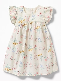 Floral Flutter-Sleeve Dress for Baby