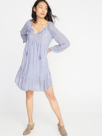 Striped Crinkle-Gauze Boho Swing Dress for Women