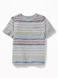 Striped Raw-Edge Pocket Tee for Toddler Boys