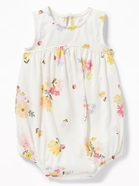 Sleeveless Floral Bubble One-Piece for Baby