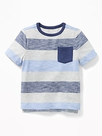 Striped Slub-Knit Pocket Tee for Toddler Boys
