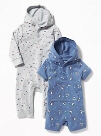 Une-pièce à capuchon pour bébé (paquet de2)