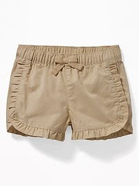 Ruffled Twill Pull-On Shorts for Baby