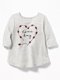 Tunique en tricot grège imprimé pour toute-petite fille