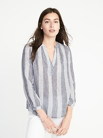 Relaxed Linen-Blend Striped Top for Women