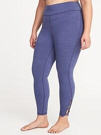 High-Rise Plus-Size 7/8-Length Lattice-Hem Yoga Leggings