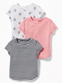 Jersey Crew-Neck Tee 3-Pack for Toddler Girls