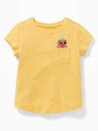 T-shirt imprimé avec poche sur la poitrine pour toute-petite fille