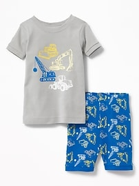 2-Piece Construction-Graphic Sleep Set for Toddler & Baby