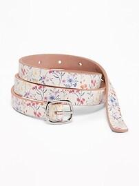 Skinny Reversible Floral-Print Belt for Women