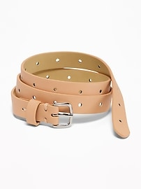 Skinny Perforated Belt for Women