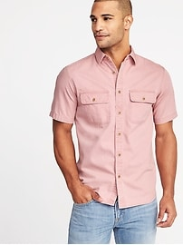 Slim-Fit Garment-Dyed Utility Shirt for Men