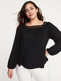 Haut en tricot grège à encolure carrée, taille Plus