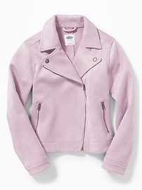 Sueded Moto Jacket for Girls