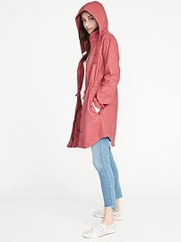 Hooded Twill Utility Jacket for Women