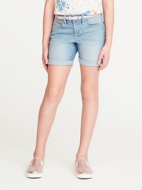 Belted Rolled-Cuff Denim Shorts for Girls
