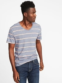 Soft-Washed Striped V-Neck Tee for Men
