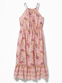 Floral-Print Suspended-Neck Midi for Girls
