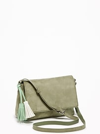 Sueded Flap-Front Crossbody Bag for Women