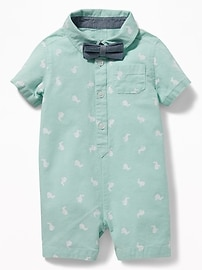 Bunny-Print Oxford One-Piece & Bow-Tie Set for Baby