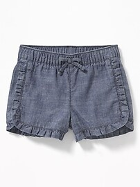 Ruffled Chambray Pull-On Shorts for Baby