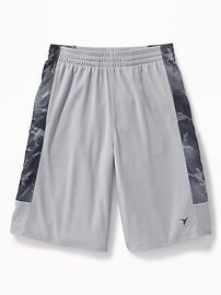 Mesh Printed Side-Panel Basketball Shorts for Boys