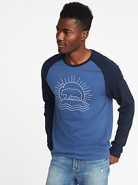 Embroidered-Graphic Raglan-Sleeve Tee for Men