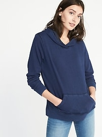 Garment-Dyed Fleece Pullover Hoodie for Women