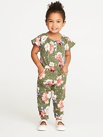 Floral-Print Ruffle-Sleeve Romper for Toddler Girls