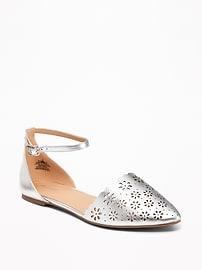 Laser-Cut Pointy-Toe Flats for Women