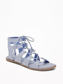 Chambray Gladiator Sandals for Women