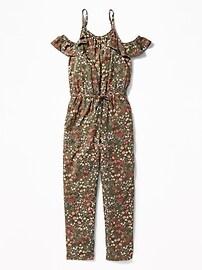 Floral Cold-Shoulder Jumpsuit for Girls