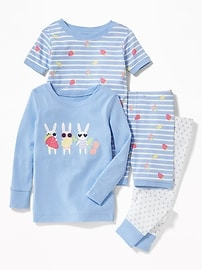 4-Piece Bunny-Graphic Sleep Set for Toddler & Baby