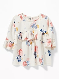 Ruffle-Trim Floral Jersey Top for Baby