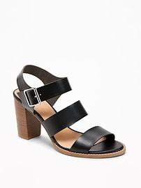 Three-Strap Block-Heel Sandals for Women