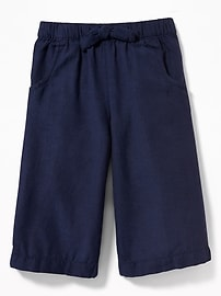 Linen-Blend Wide-Leg Culottes for Toddler Girls