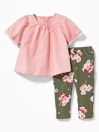 Lace-Trim Blouse & Printed Leggings Set for Baby