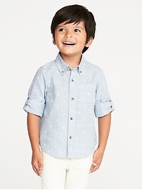 Printed Rolled-Sleeve Shirt for Toddler Boys